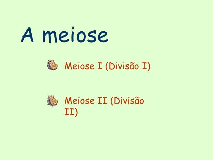 A meiose Meiose I (Divisão I) Meiose II (Divisão II)