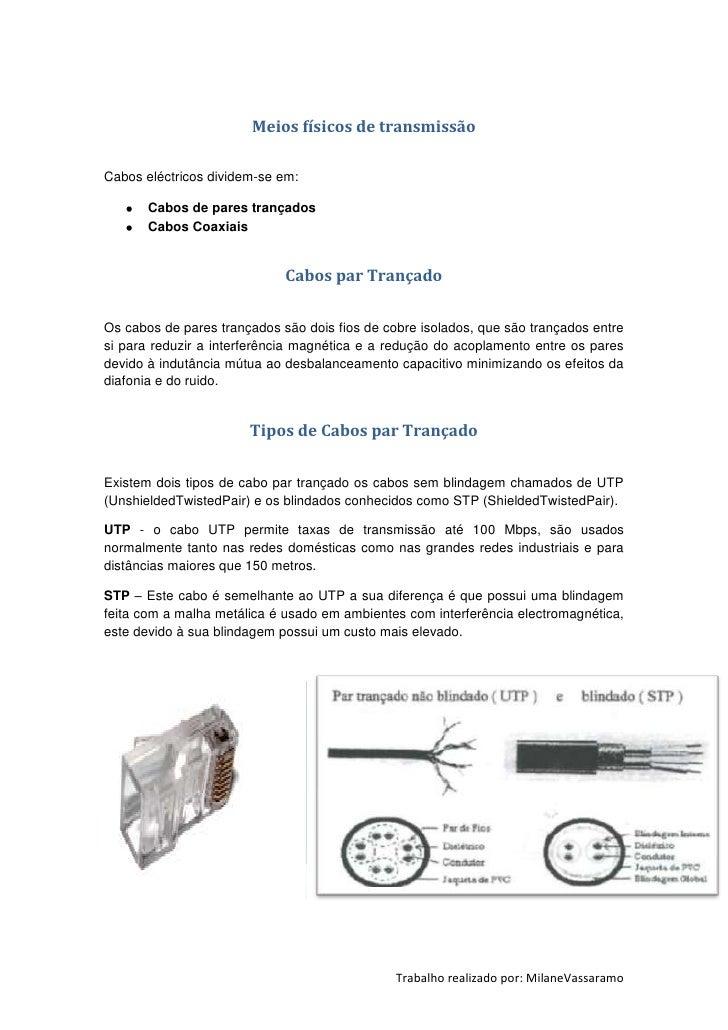 Meios físicos de transmissãoCabos eléctricos dividem-se em:       Cabos de pares trançados       Cabos Coaxiais           ...