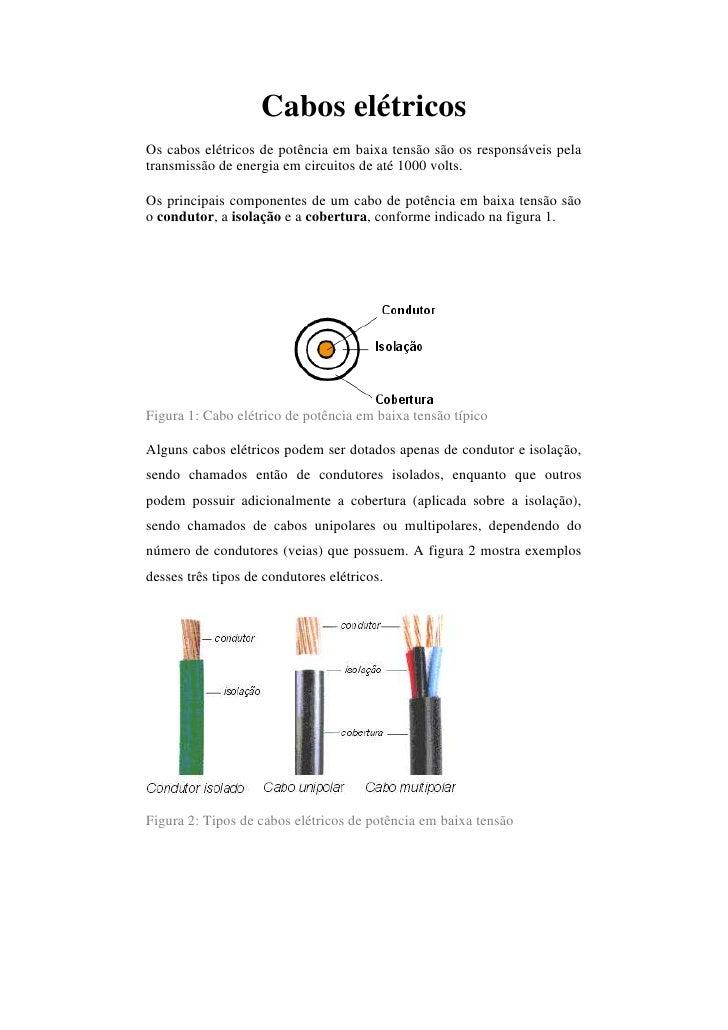 Cabos elétricosOs cabos elétricos de potência em baixa tensão são os responsáveis pelatransmissão de energia em circuitos ...