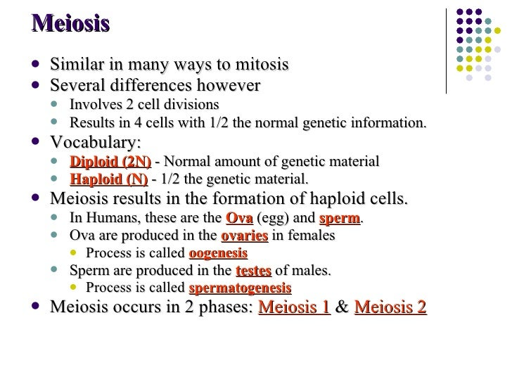 Meiosis <ul><li>Similar in many ways to mitosis </li></ul><ul><li>Several differences however </li></ul><ul><ul><li>Involv...