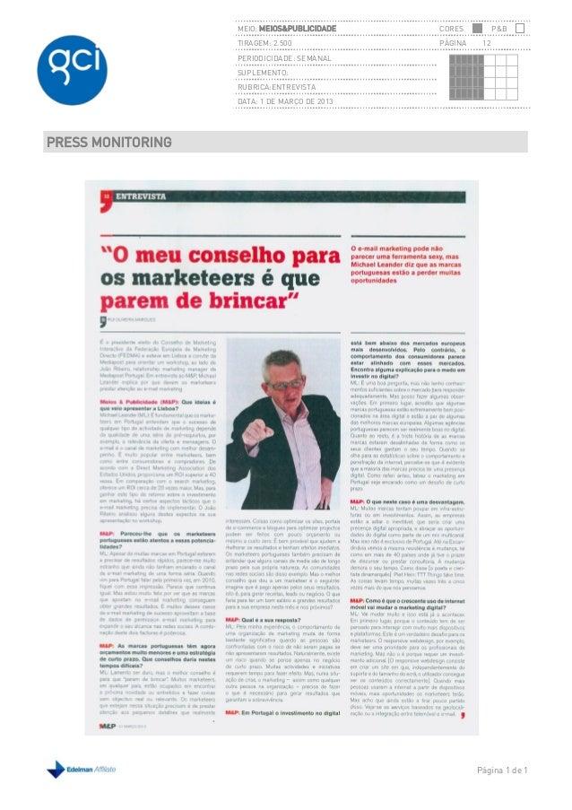 MEIO: MEIOS&PUBLICIDADE    CORES          P&B                   TIRAGEM: 2.500             PÁGINA    12                   ...