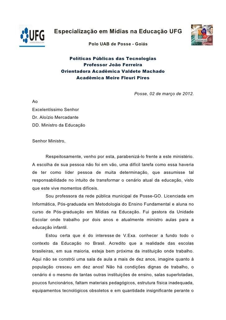 Especialização em Mídias na Educação UFG                           Polo UAB de Posse - Goiás                 Políticas Púb...