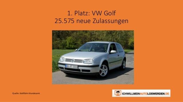 1. Platz: VW Golf 25.575 neue Zulassungen Quelle: Kraftfahrt-Bundesamt