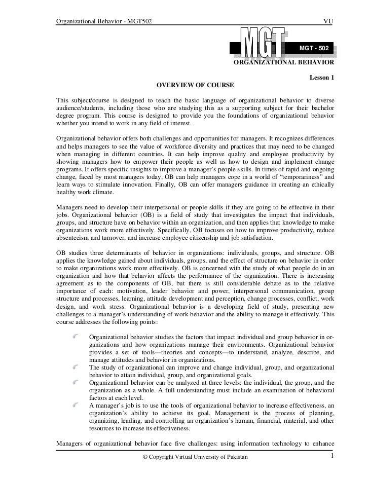 Organizational Behavior - MGT502                                                                    VU                    ...