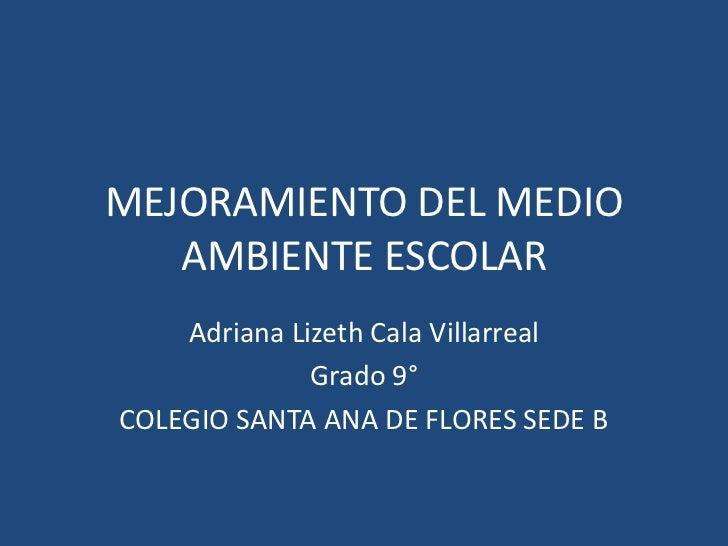 MEJORAMIENTO DEL MEDIO   AMBIENTE ESCOLAR    Adriana Lizeth Cala Villarreal              Grado 9°COLEGIO SANTA ANA DE FLOR...