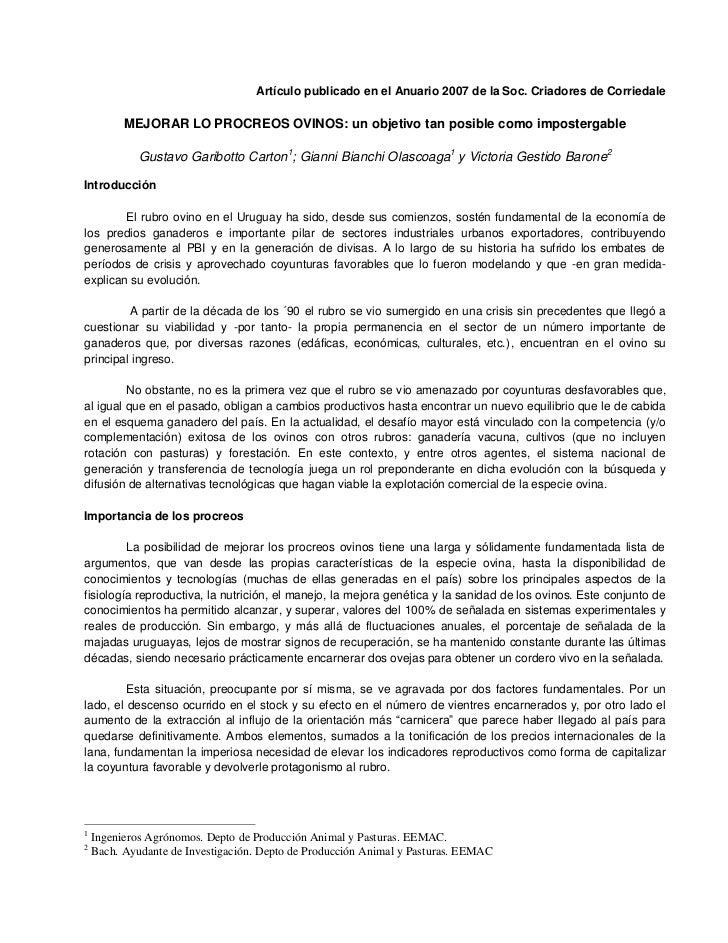 Artículo publicado en el Anuario 2007 de la Soc. Criadores de Corriedale          MEJORAR LO PROCREOS OVINOS: un objetivo ...