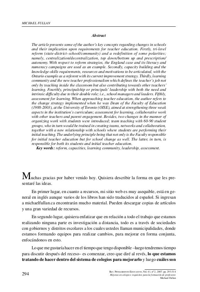 Michael Fullan                                              Abstract      The article presents some of the author's key co...