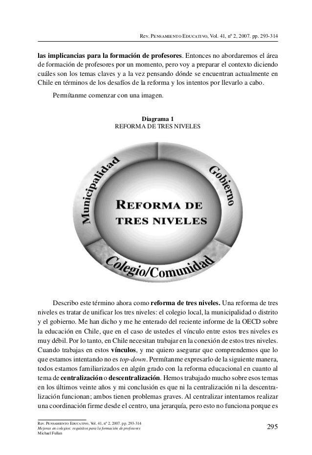 Rev. Pensamiento Educativo, Vol. 41, nº 2, 2007. pp. 293-314las implicancias para la formación de profesores. Entonces no ...