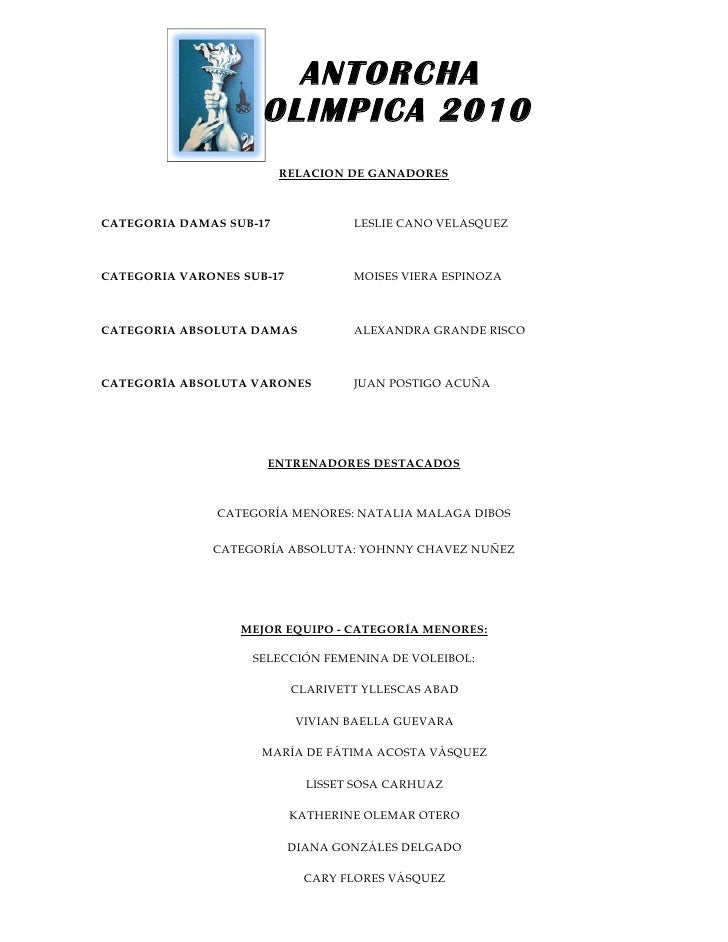 ANTORCHA                     OLIMPICA 2010                         RELACION DE GANADORESCATEGORIA DAMAS SUB-17            ...