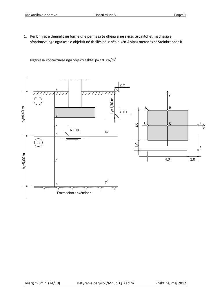 Mekanika e dherave                          Ushtrimi nr.8.                                         Faqe: 1     1. Për brin...