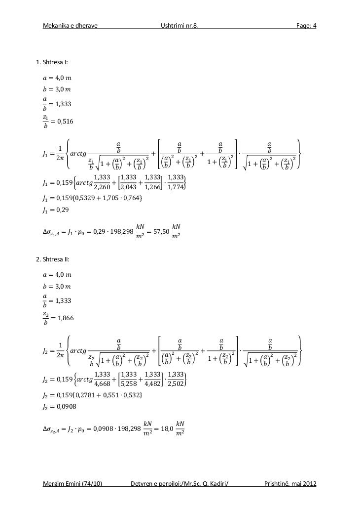 Mekanika e dherave                         Ushtrimi nr.8.                                Faqe: 41. Shtresa I:             ...
