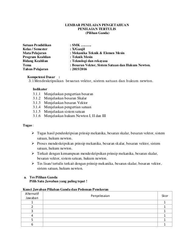 Rpp Smk Mekanika Teknik Amp Elemen Mesin Kelas X