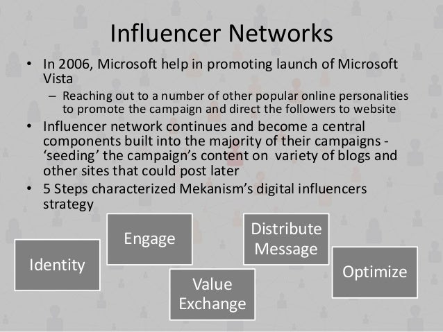 Influencer Networks • In 2006, Microsoft help in promoting launch of Microsoft Vista – Reaching out to a number of other p...