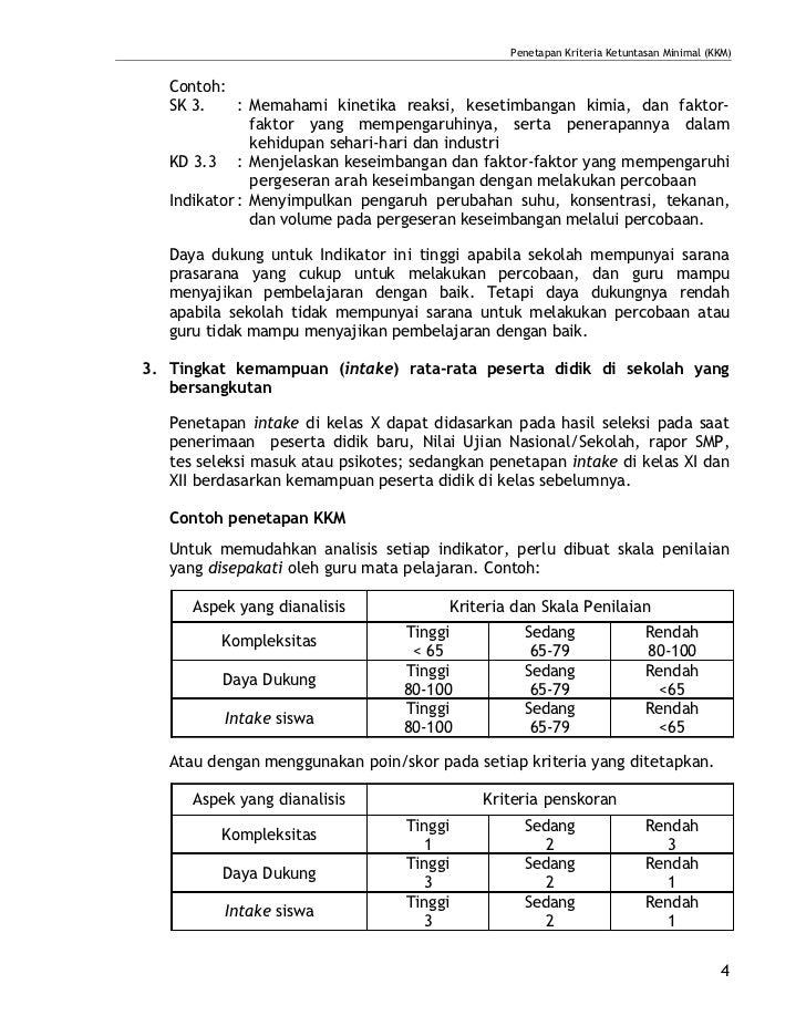 Penetapan Kriteria Ketuntasan Minimal (KKM)   Contoh:   SK 3.     : Memahami kinetika reaksi, kesetimbangan kimia, dan fak...