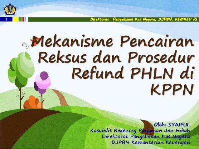 1 Direktorat Pengelolaan Kas Negara, DJPBN, KEMKEU RI Mekanisme Pencairan Reksus dan Prosedur Refund PHLN di KPPN Oleh: SY...