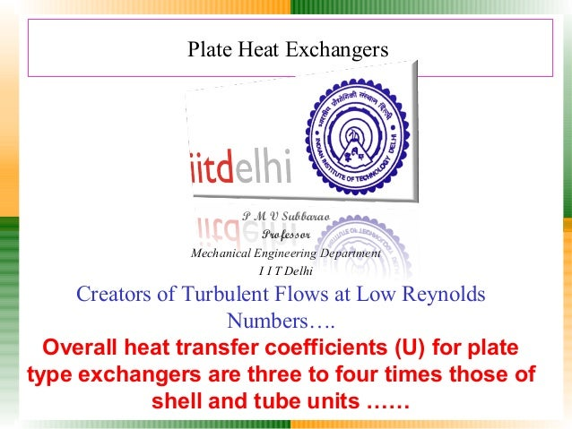 Plate Heat Exchangers  P M V Subbarao Professor Mechanical Engineering Department I I T Delhi  Creators of Turbulent Flows...