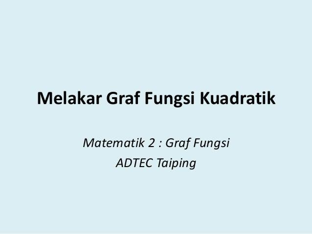Melakar Graf Fungsi Kuadratik Matematik 2 : Graf Fungsi ADTEC Taiping