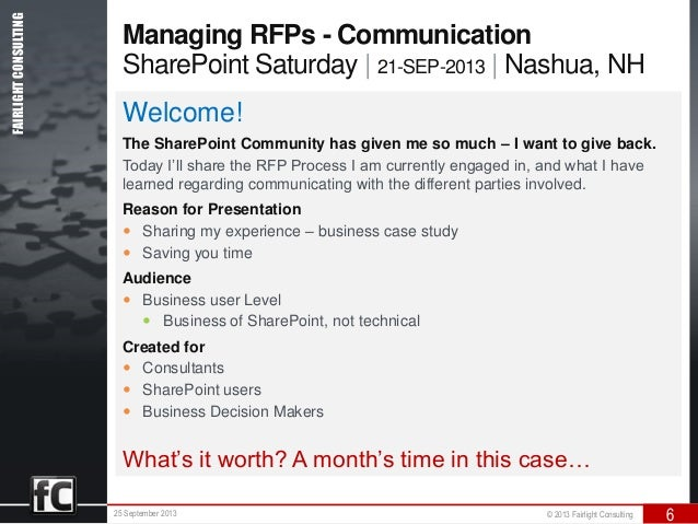 managing the sharepoint rfp a business communication case study. Black Bedroom Furniture Sets. Home Design Ideas