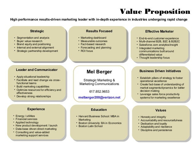 mel berger personal value proposition