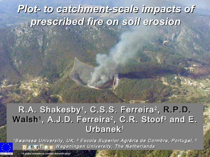 Plot- to catchment-scale impacts of prescribed fire on soil erosion R.A. Shakesby 1 , C.S.S. Ferreira 2 ,  R.P.D. Walsh 1 ...