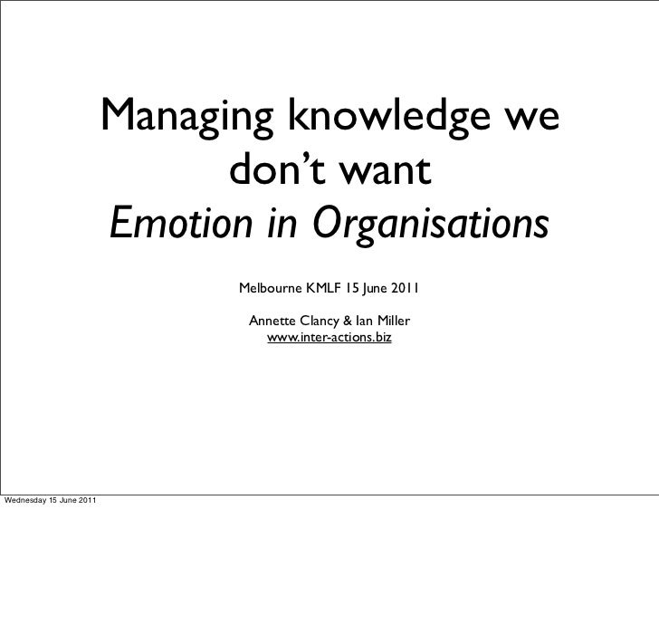 Managing knowledge we                               don't want                         Emotion in Organisations           ...