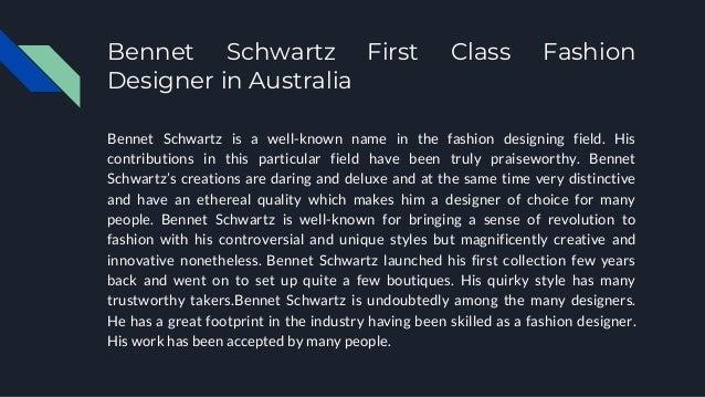 Australia Melbourne Victoria S Best Fashion Designer Bennet Schwa