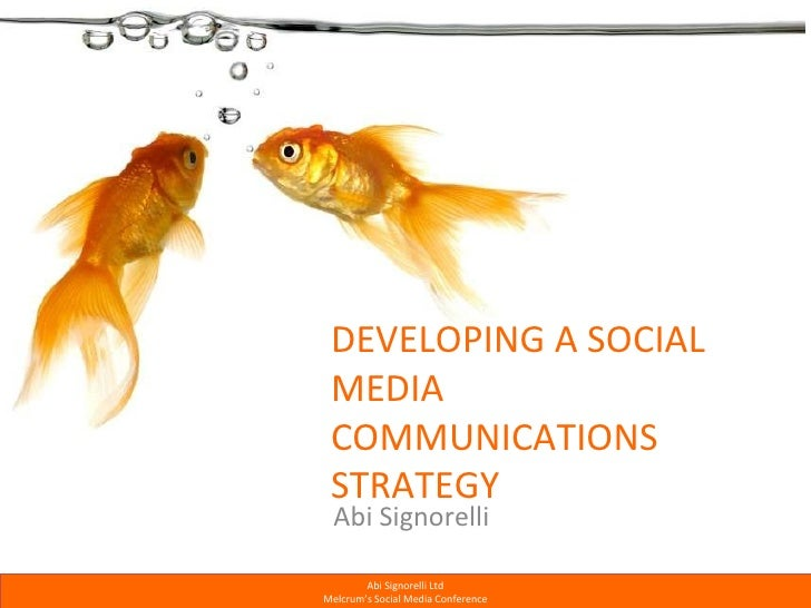 DEVELOPING A SOCIAL MEDIA COMMUNICATIONS STRATEGY Abi Signorelli