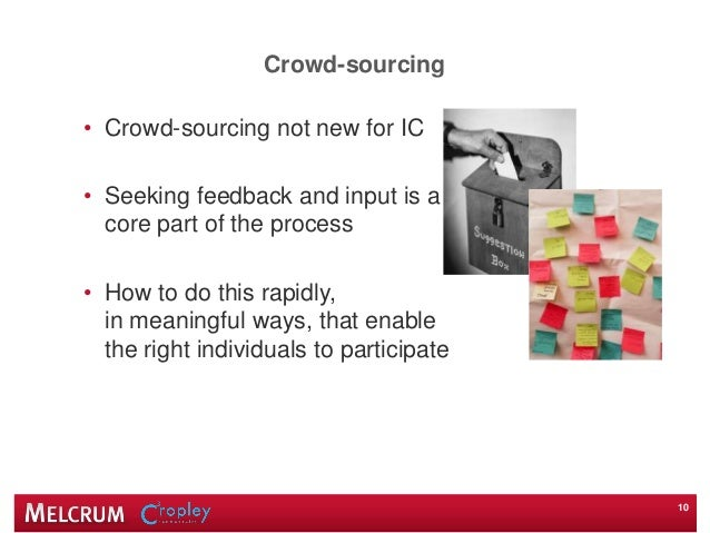 Crowd-sourcing • Crowd-sourcing not new for IC • Seeking feedback and input is a core part of the process • How to do this...