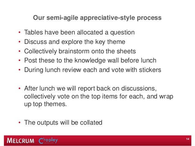 Our semi-agile appreciative-style process • Tables have been allocated a question • Discuss and explore the key theme • Co...