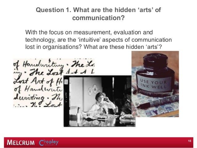 Question 1. What are the hidden 'arts' of communication? With the focus on measurement, evaluation and technology, are the...