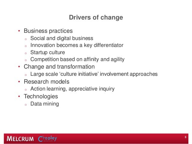 Drivers of change • Business practices o Social and digital business o Innovation becomes a key differentiator o Startup c...
