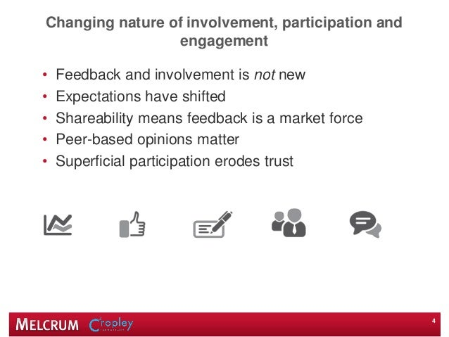 Changing nature of involvement, participation and engagement • Feedback and involvement is not new • Expectations have shi...