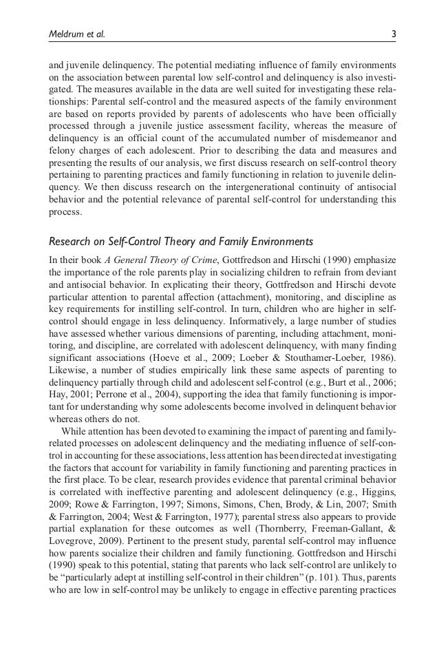 parental low self control family environments and juvenile delinque   3 meldrum et al 3 and juvenile delinquency