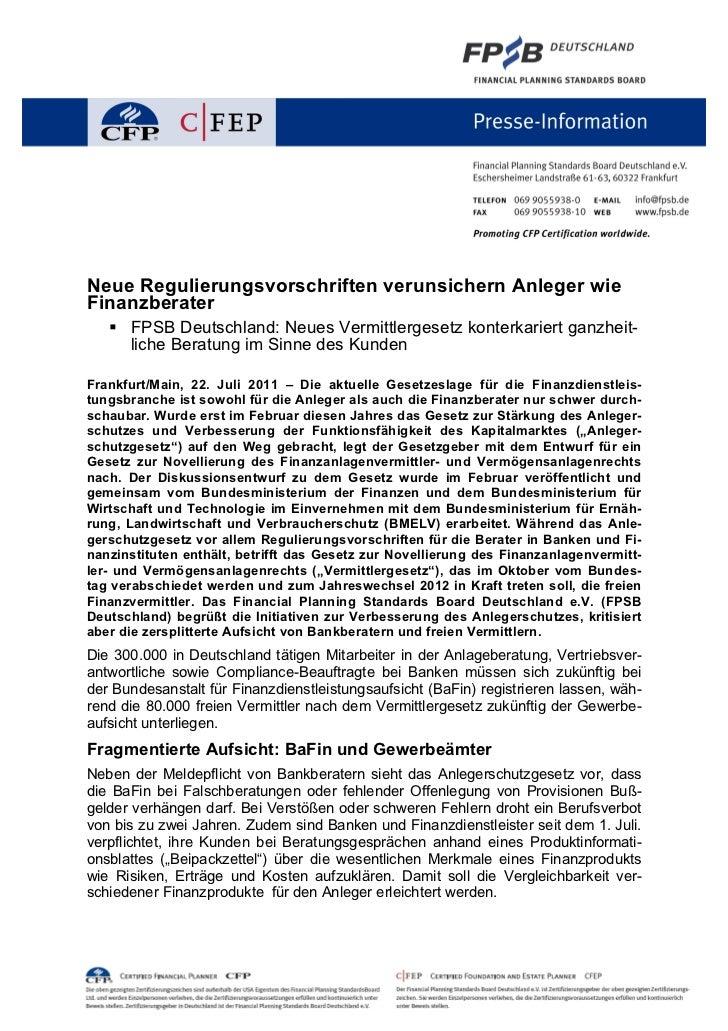 Neue Regulierungsvorschriften verunsichern Anleger wieFinanzberater   § FPSB Deutschland: Neues Vermittlergesetz konterka...