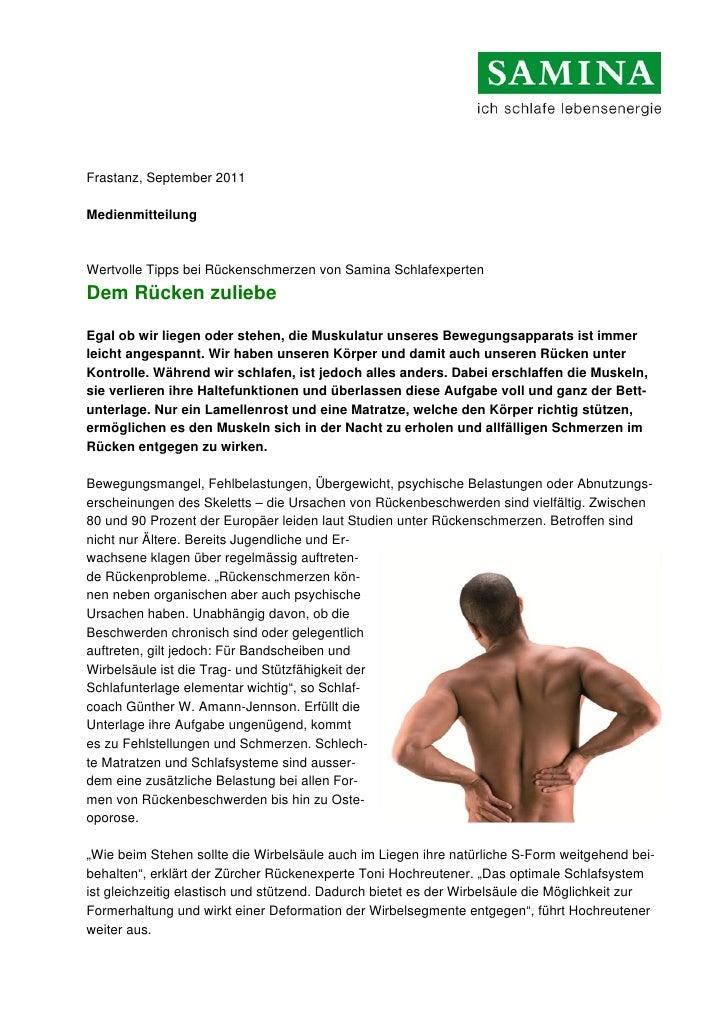 Frastanz, September 2011MedienmitteilungWertvolle Tipps bei Rückenschmerzen von Samina SchlafexpertenDem Rücken zuliebeEga...