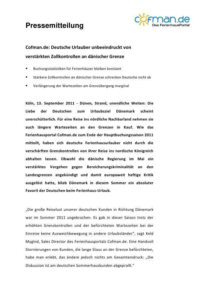 PressemitteilungCofman.de: Deutsche Urlauber unbeeindruckt vonverstärkten Zollkontrollen an dänischer Grenze   Buchungsst...