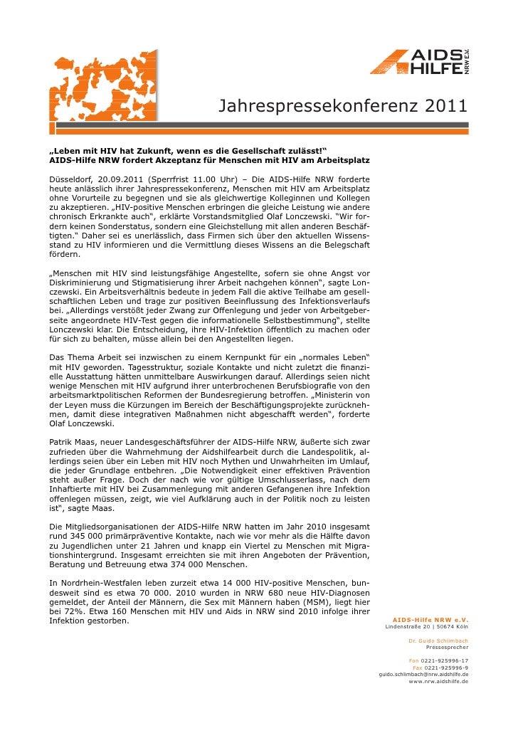 """Jahrespressekonferenz 2011""""Leben mit HIV hat Zukunft, wenn es die Gesellschaft zulässt!""""AIDS-Hilfe NRW fordert Akzeptanz f..."""
