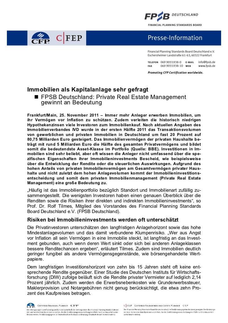 Immobilien als Kapitalanlage sehr gefragt   FPSB Deutschland: Private Real Estate Management    gewinnt an BedeutungFrank...