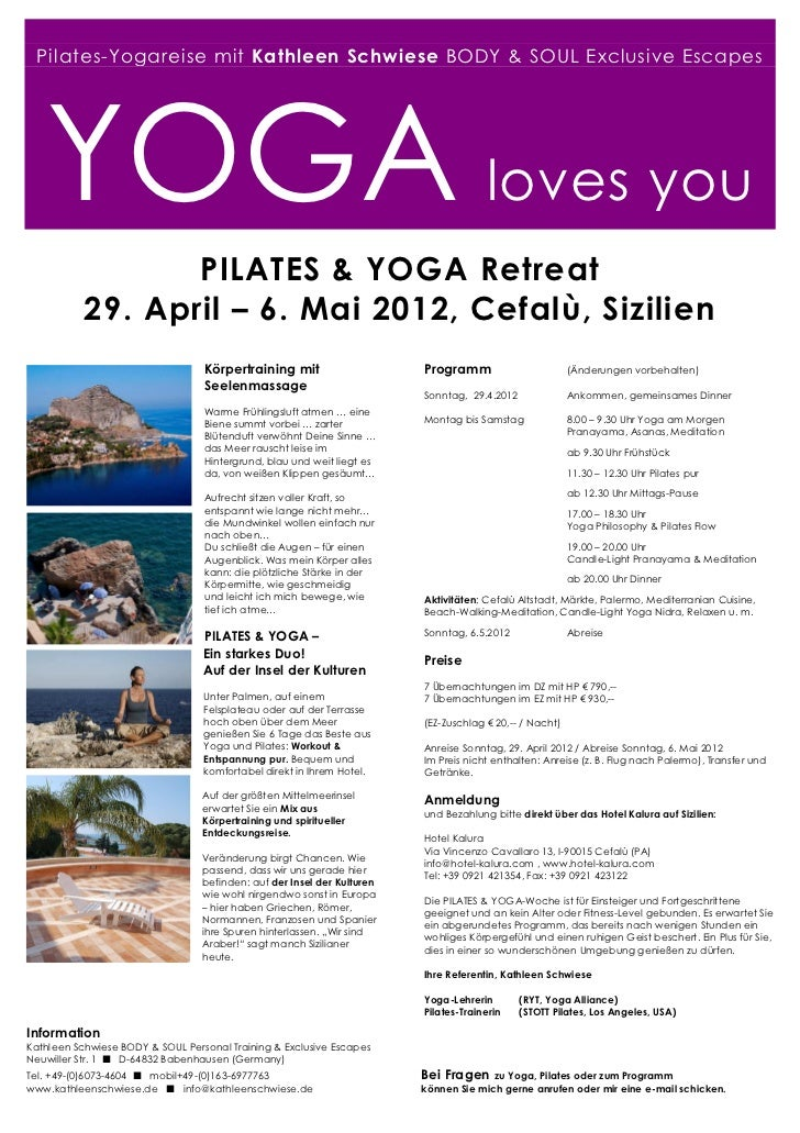 Pilates-Yogareise mit Kathleen Schwiese BODY & SOUL Exclusive Escapes   YOGA loves you                  PILATES & YOGA Ret...
