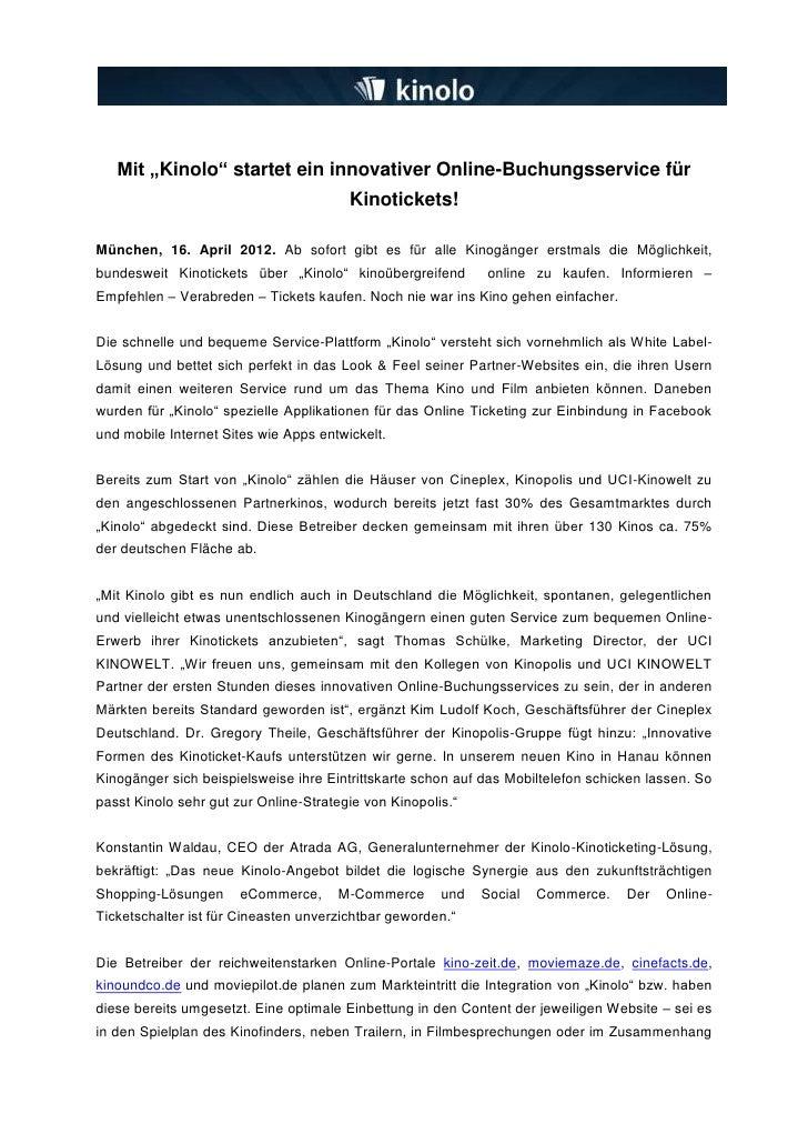 """Mit """"Kinolo"""" startet ein innovativer Online-Buchungsservice für                                        Kinotickets!München..."""
