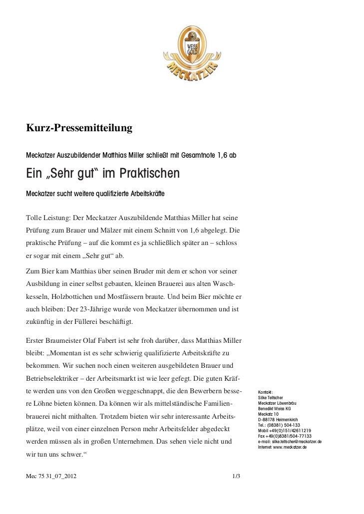 """Kurz-PressemitteilungMeckatzer Auszubildender Matthias Miller schließt mit Gesamtnote 1,6 abEin """"Sehr gut"""" im PraktischenM..."""