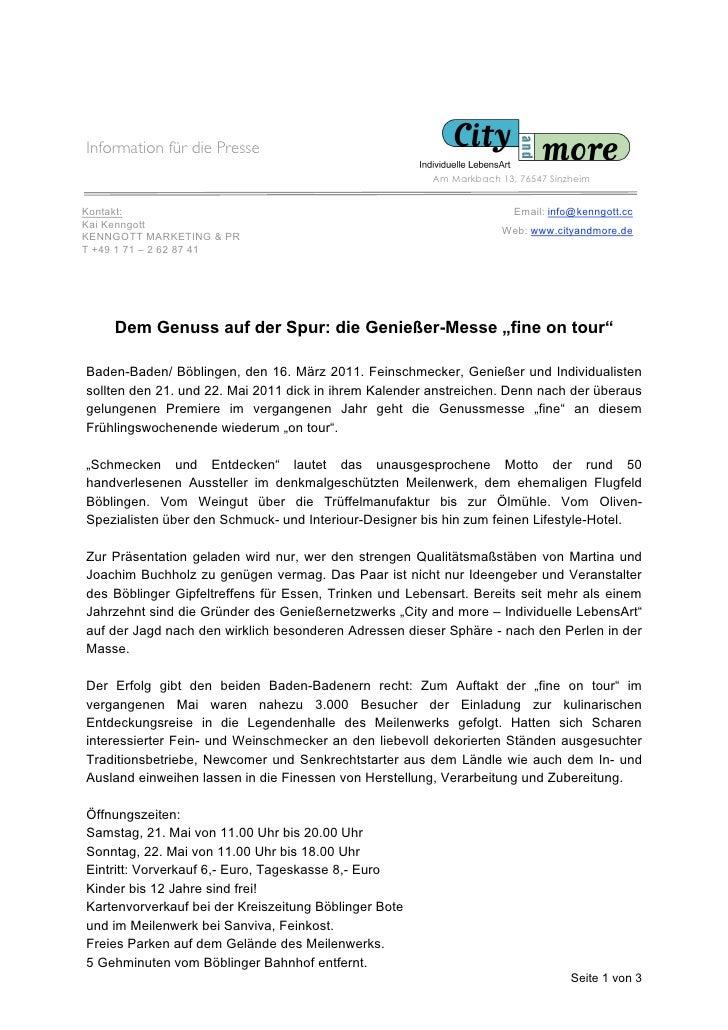 Information für die Presse                                                        Am Markbach 13, 76547 SinzheimKontakt:  ...
