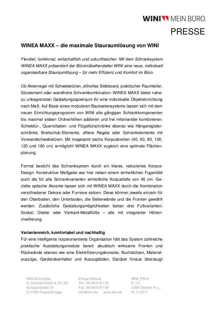 PRESSEWINEA MAXX – die maximale Stauraumlösung von WINIFlexibel, funktional, wirtschaftlich und zukunftssicher: Mit dem Sc...