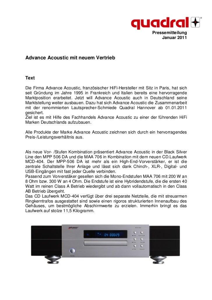 Pressemitteilung                                                                      Januar 2011Advance Acoustic mit neue...