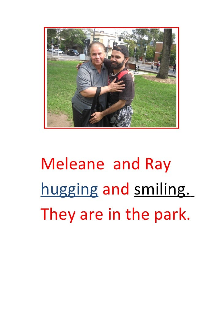 Meleane and Ray hugging and smiling. They are in the park.