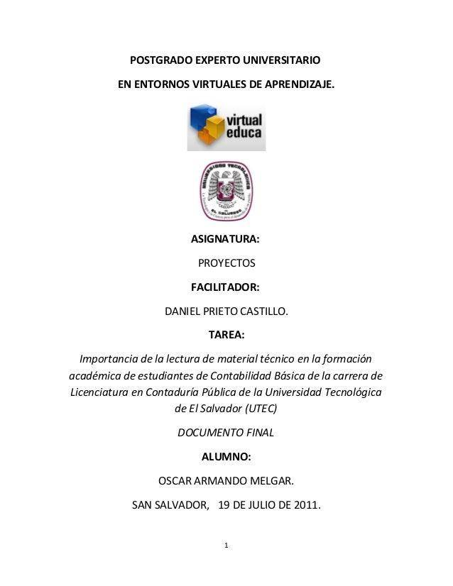 POSTGRADO EXPERTO UNIVERSITARIO          EN ENTORNOS VIRTUALES DE APRENDIZAJE.                        ASIGNATURA:         ...