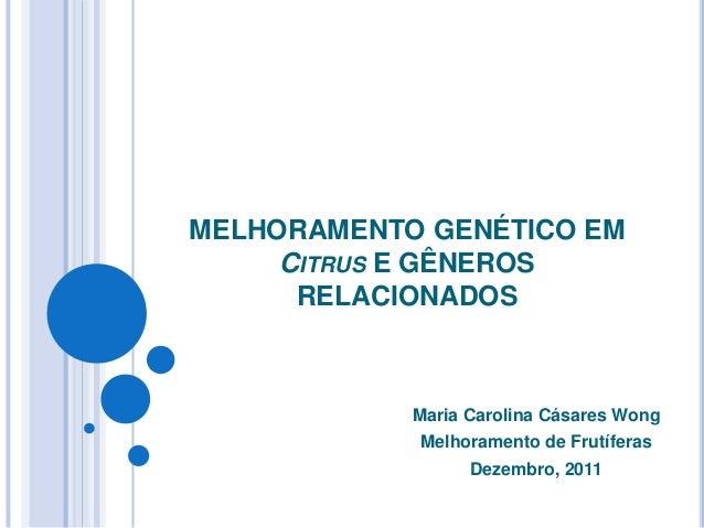 MELHORAMENTO GENÉTICO EM CITRUSE GÊNEROS RELACIONADOS  Maria Carolina Cásares Wong  Melhoramento de Frutíferas  Dezembro, ...