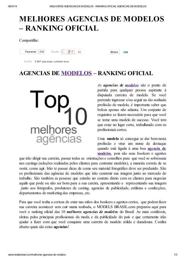 09/01/14  MELHORES AGENCIAS DE MODELOS - RANKING OFICIAL AGENCIAS DE MODELOS  MELHORES AGENCIAS DE MODELOS – RANKING OFICI...