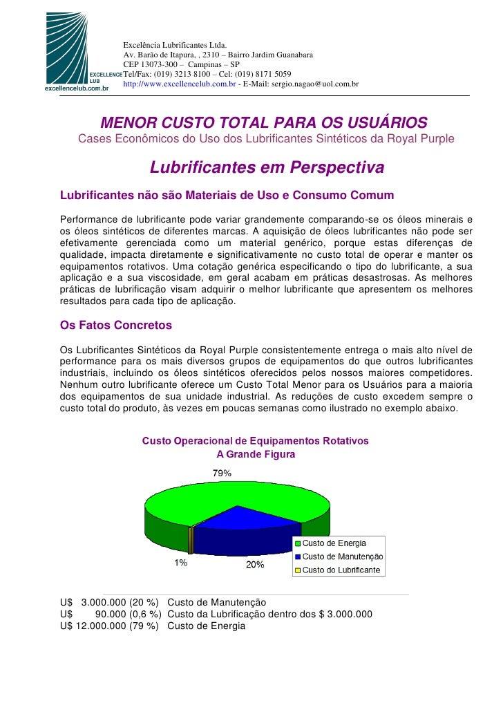 Excelência Lubrificantes Ltda.             Av. Barão de Itapura, , 2310 – Bairro Jardim Guanabara             CEP 13073-30...