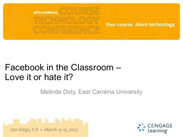 Facebook in the Classroom –Love it or hate it?        Melinda Doty, East Carolina University